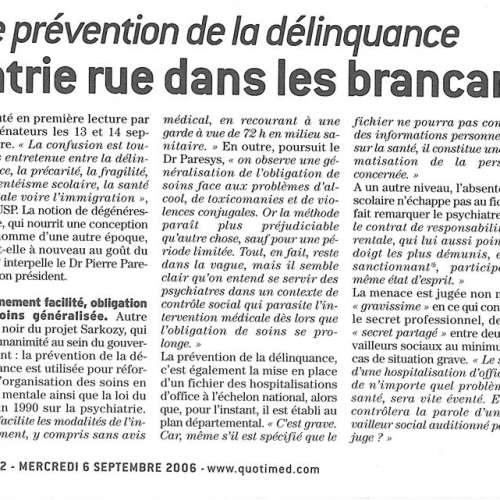 le Quotidien du médecin - 6 septembre 2006